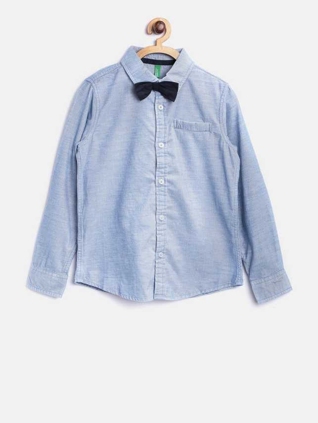 f952de666 United Colors of Benetton Boys Solid Casual Blue Shirt - Buy United ...