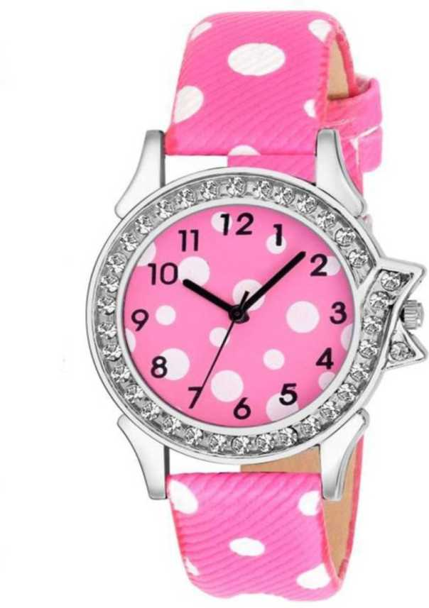 Bindal Fashion New Fancy Wrist Watch Pink Strap For Girls And