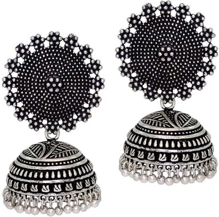 c8889bd3b5ac8 Jaipur Mart Oxidised Silver Plated Handmade Women Jhumka Jhumki Earrings  Alloy Jhumki Earring