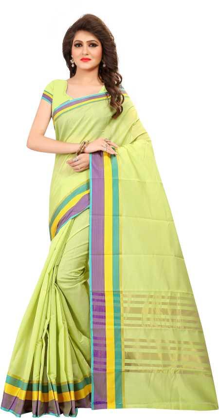 5c12d9822760ed ADMIRE TRENDZ Striped Daily Wear Light Green Cotton Silk Saree (Light Green)
