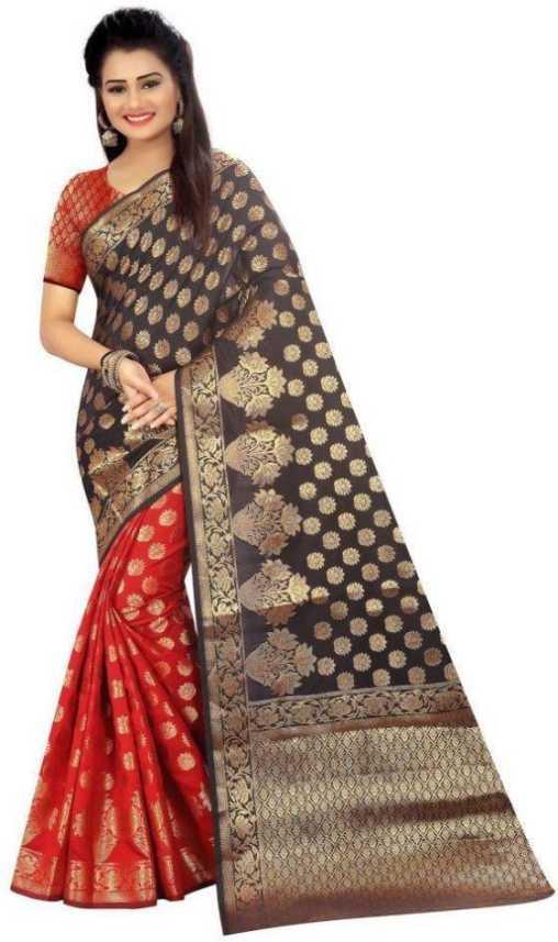 09e77a43e15 Buy SHIVAM TEXTILES Self Design Banarasi Cotton Silk Brown