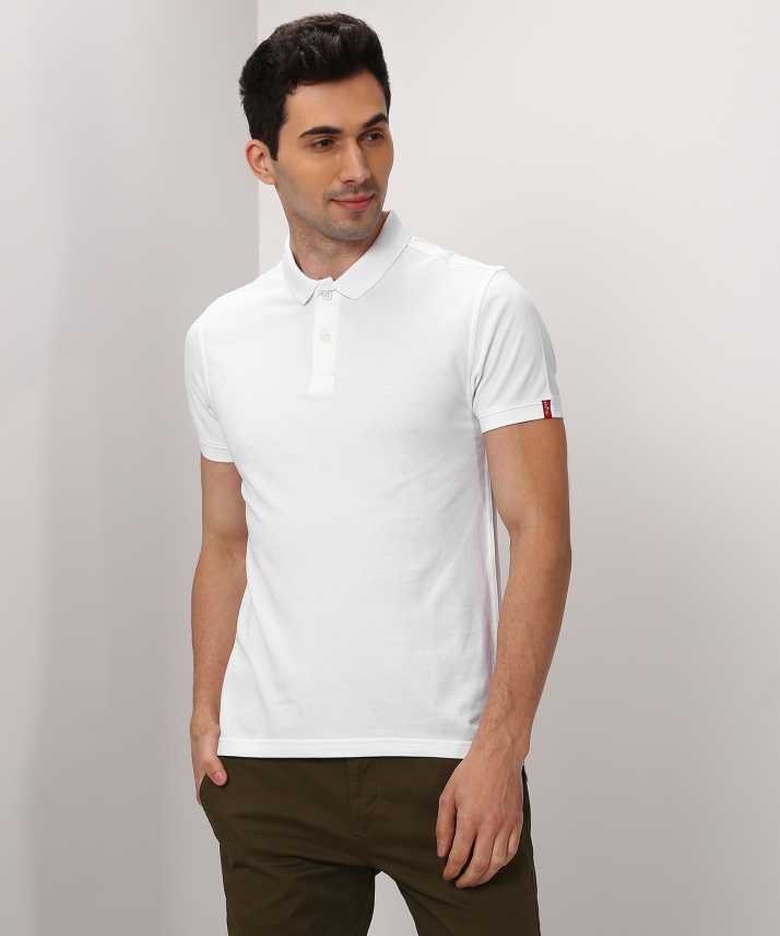 88ba2cdc Levi's Solid Men Polo Neck White T-Shirt - Buy White Levi's Solid Men Polo  Neck White T-Shirt Online at Best Prices in India | Flipkart.com