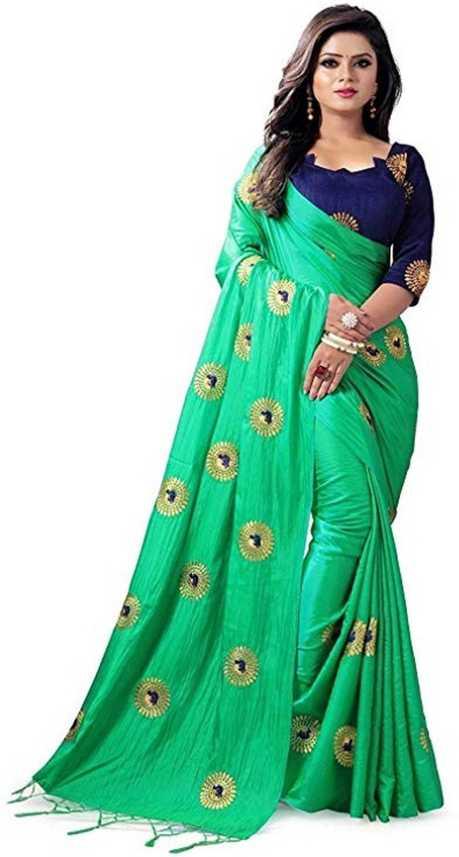 c4db72527 Buy DHARITRI SAREE Embroidered Bollywood Pure Silk Green Sarees ...