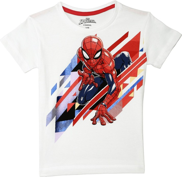 spiderman design 2 to 10 Years Boys Spider-Man Long Sleeved T-shirt White Top