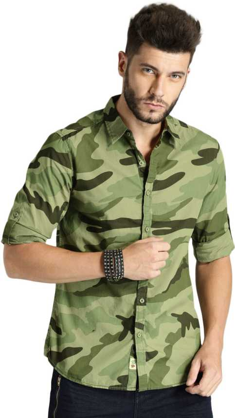 b8ae7356a Roadster Men Military Camouflage Casual Green Shirt - Buy Roadster ...