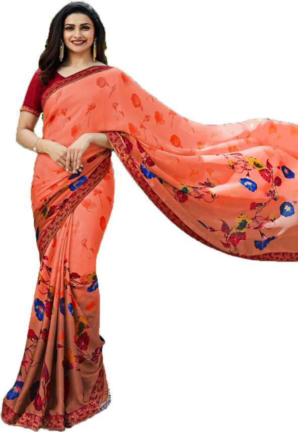 b903cb4be89 Buy Twins Birds Floral Print Daily Wear Georgette Orange Sarees ...