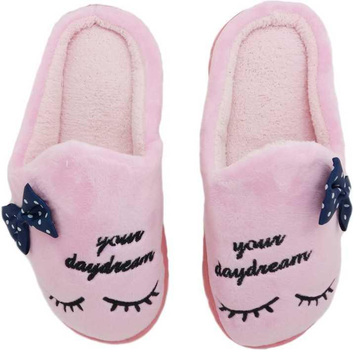 Miscreef Pink Bow Warm Winter, Furry, Bedroom Slippers - Buy Miscreef Pink  Bow Warm Winter, Furry, Bedroom Slippers Online at Best Price - Shop Online  for Footwears in India   Flipkart.com