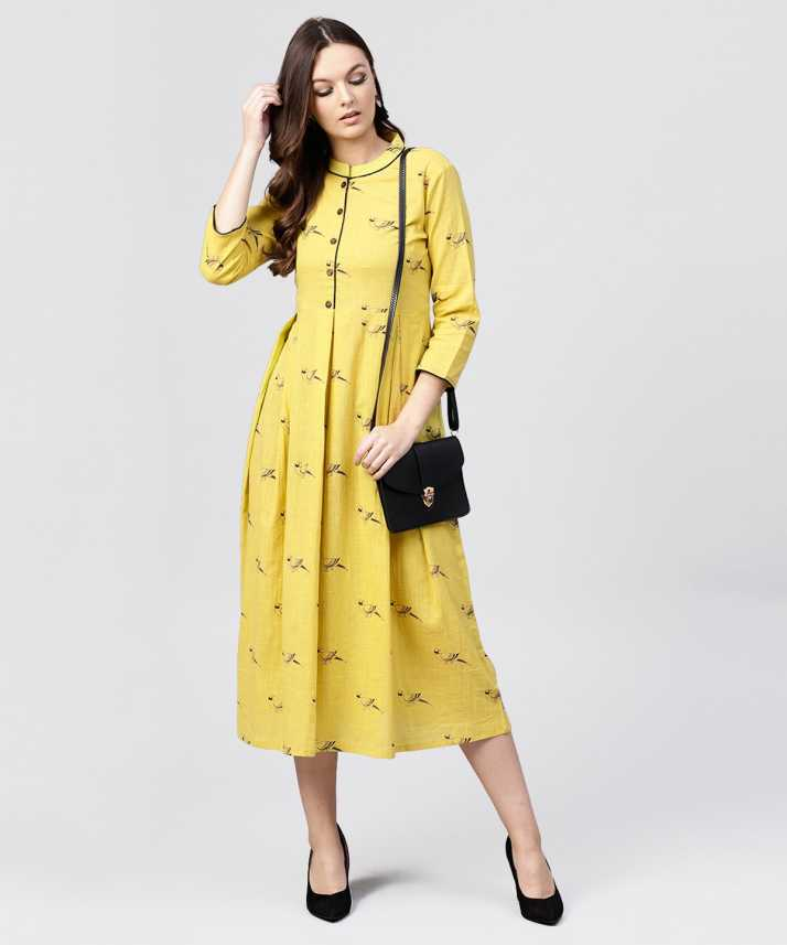 99b703ba47 Aasi - House of Nayo Women s A-line Yellow Dress - Buy Aasi - House of Nayo  Women s A-line Yellow Dress Online at Best Prices in India