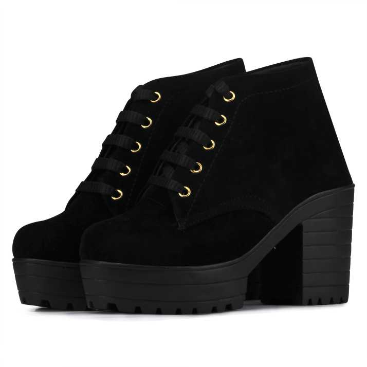 2ef85dca5721 Flaunters High heels black Color Valvet fabric Shoes Boots For Women (Black)