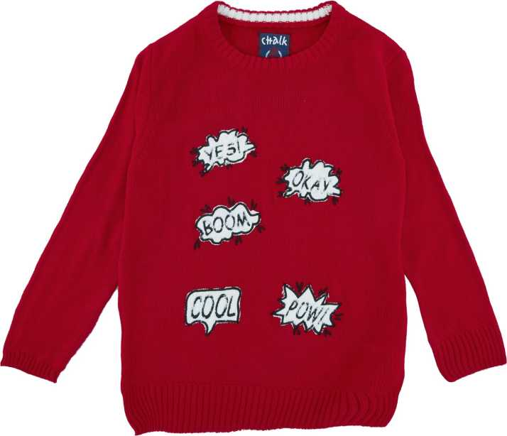 9532c9a8f Chalk by Pantaloons Solid Crew Neck Casual Boys Red Sweater - Buy Chalk by  Pantaloons Solid Crew Neck Casual Boys Red Sweater Online at Best Prices in  India ...