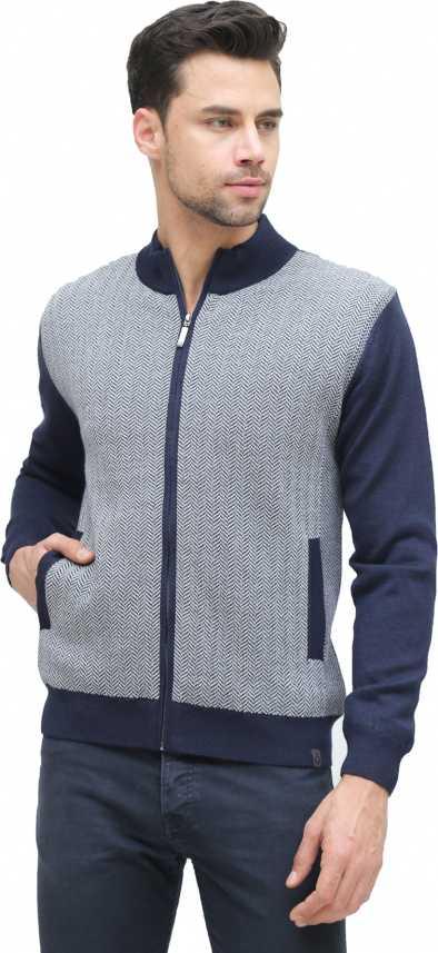 ALX Newyork Solid Boat Neck Casual Men Dark Blue Sweater