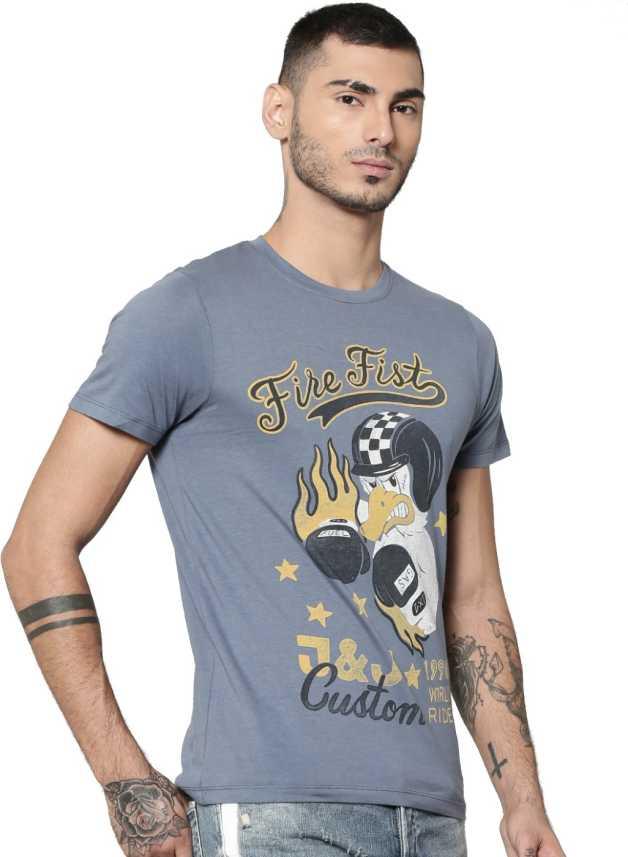 wholesale dealer 36982 2068d Jack & Jones Graphic Print Men Round or Crew Blue T-Shirt