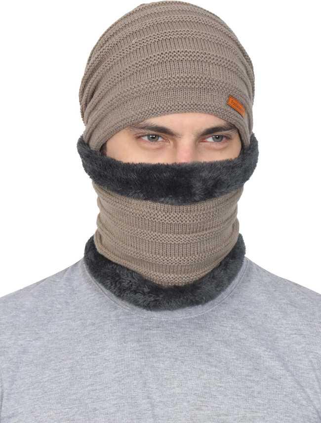 fe2946b2 FabSeasons Unisex Acrylic Woolen combo of Beanie / Skull Cap & Muffler for  winters with faux fur lining Cap