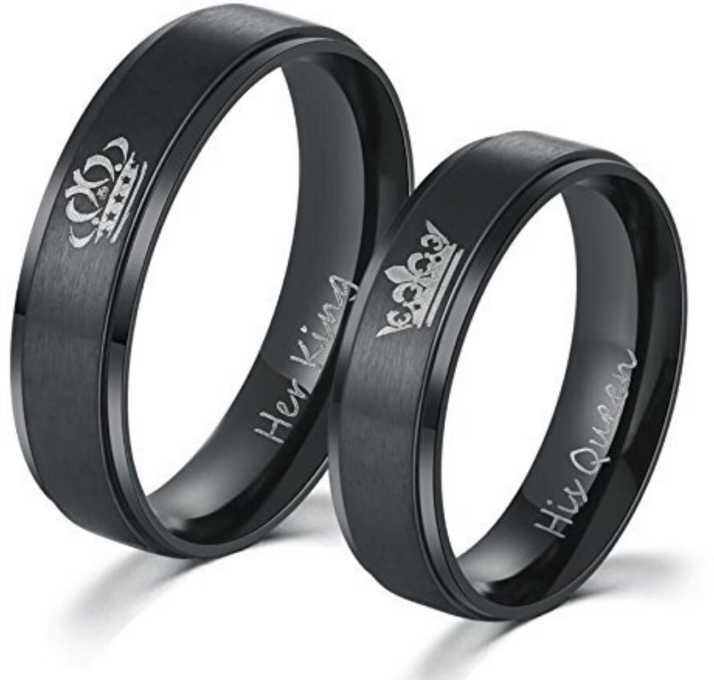dfe00223ed Impression Impression Black Two Pcs His Queen Her King Titanium Stainless  Steel Couple Rings, Queen & King Rings Wedding Engagement Promise Rings For  Women ...
