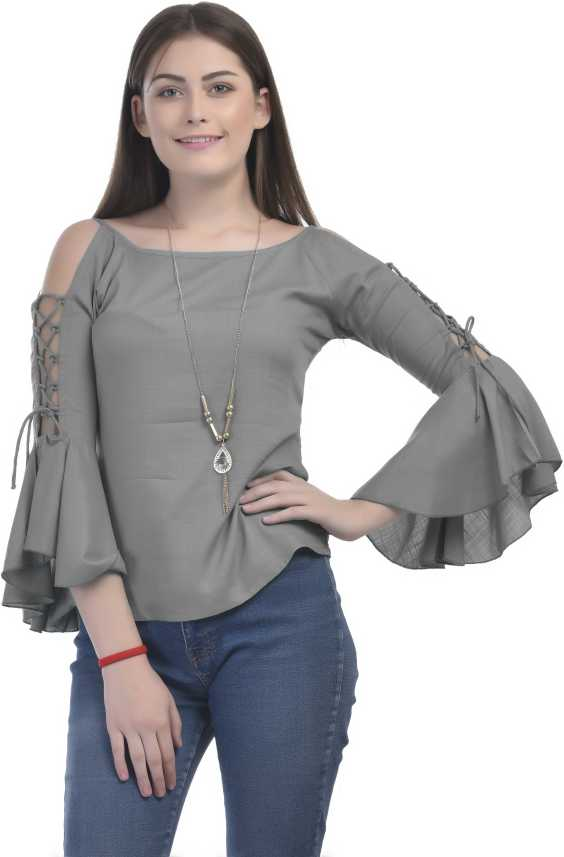 e175d732cb6e6 VAANYA Casual Bell Sleeve, Cold Shoulder Solid Women's Grey Top