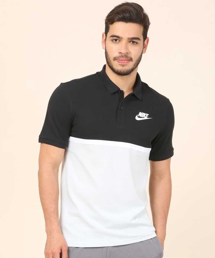 8e42dfa51 Nike Solid Men Polo Neck Black, White T-Shirt - Buy Nike Solid Men Polo  Neck Black, White T-Shirt Online at Best Prices in India | Flipkart.com