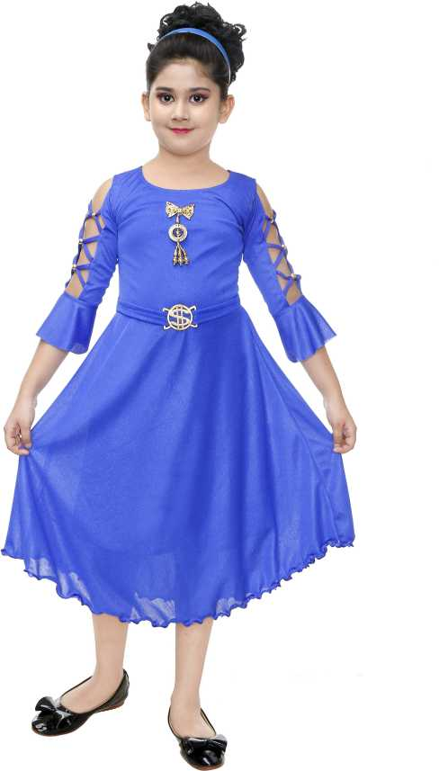 eec1eb8f981 FTC FASHIONS Girls Midi/Knee Length Party Dress (Blue, 3/4 Sleeve). Special  price