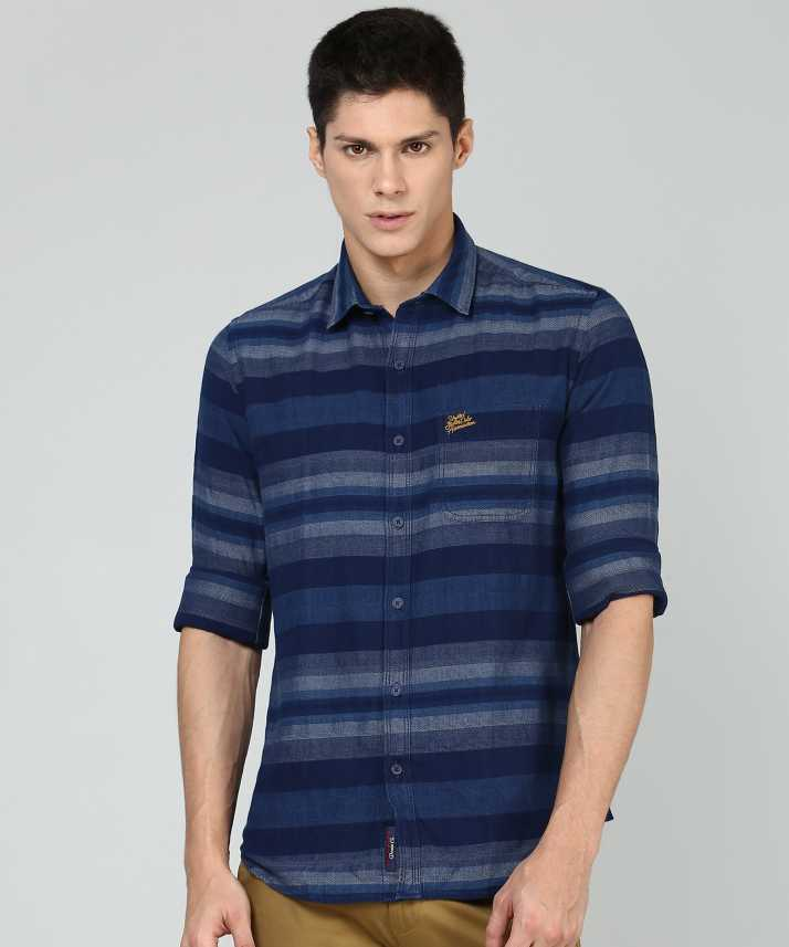 014078f1843227 U.S. Polo Assn Men Striped Casual Blue Shirt - Buy U.S. Polo Assn ...
