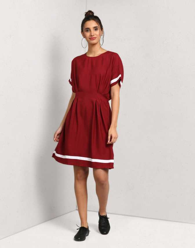 1d29b996154e Metronaut Women s A-line Maroon Dress - Buy wine Metronaut Women s A-line  Maroon Dress Online at Best Prices in India