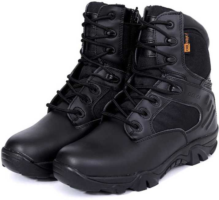 e572d40a3fe Leoie Leather Ankle-high Military Tactical Boots Waterproof Hiking ...