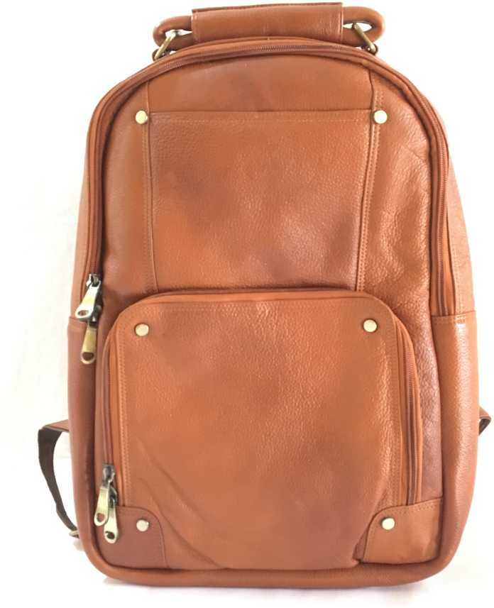 d63f8471fa5a2 NRJABS 15.6 Inch Leather Laptop Backpack Shoulder Bag Casual Travel Bag  Business Trip Bag with Zip Enclosure for Men and Women. 20.0 Laptop  Backpack (Tan)