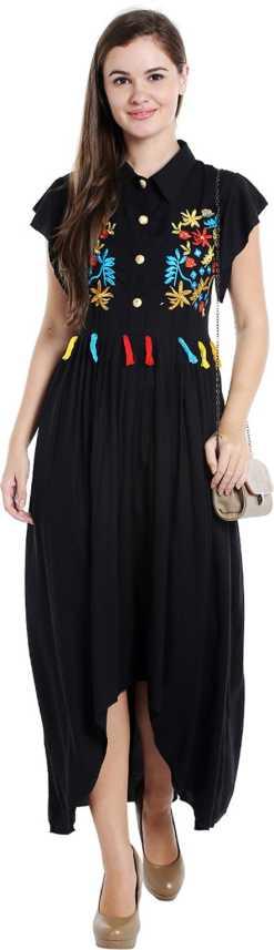 e96dc56bae12ee Ishin Women's High Low Black Dress - Buy Ishin Women's High Low Black Dress  Online at Best Prices in India | Flipkart.com