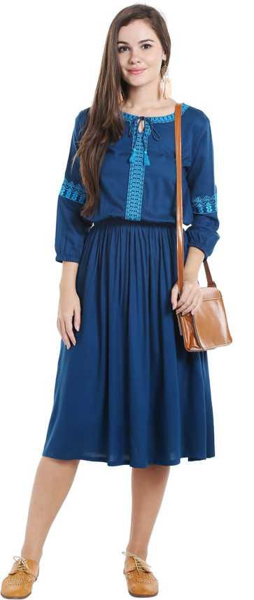 5b53d10792792e Ishin Women's A-line Blue Dress - Buy Ishin Women's A-line Blue Dress Online  at Best Prices in India | Flipkart.com