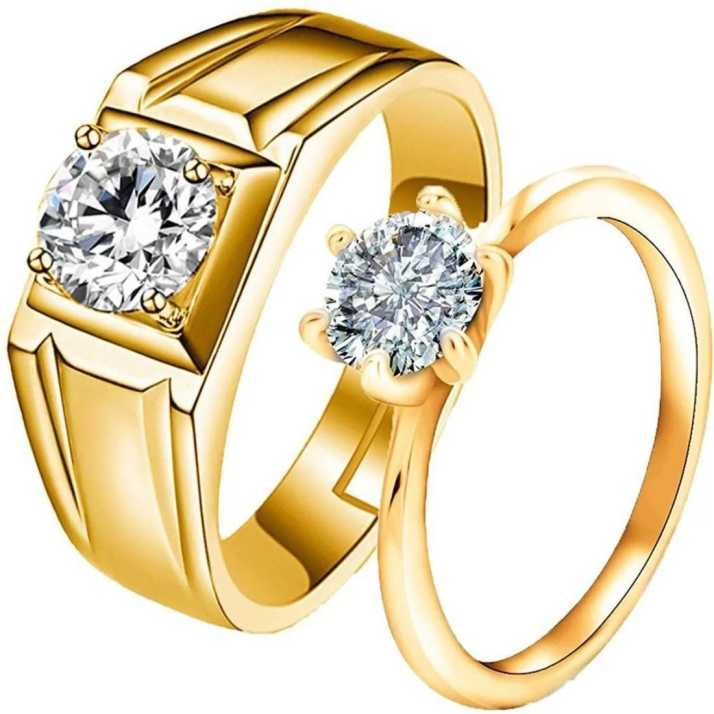 aacf89039c1 Silver Creations Adjustable Couple band ring set Alloy Cubic Zirconia Gold  Plated Ring Set