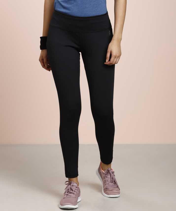 3179f8aa6d5b1 REEBOK Solid Women Black Tights - Buy Black REEBOK Solid Women Black Tights  Online at Best Prices in India | Flipkart.com