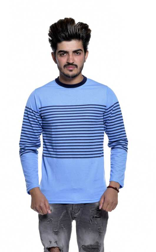 16b4b47d70 Reo Active Wear (RAW) Striped, Printed Men Round Neck Blue T-Shirt - Buy Reo  Active Wear (RAW) Striped, Printed Men Round Neck Blue T-Shirt Online at  Best ...