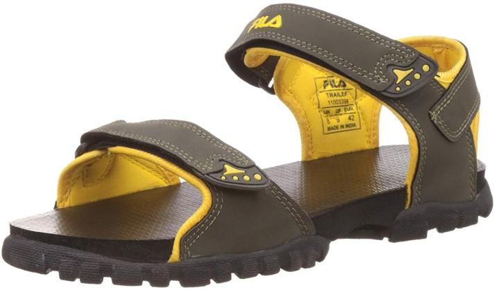 Fila Men Grey, Yellow Sports Sandals