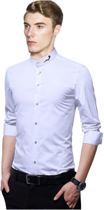 4229d3d7170 Qlonz store Men Solid Casual White Shirt - Buy Qlonz store Men Solid ...
