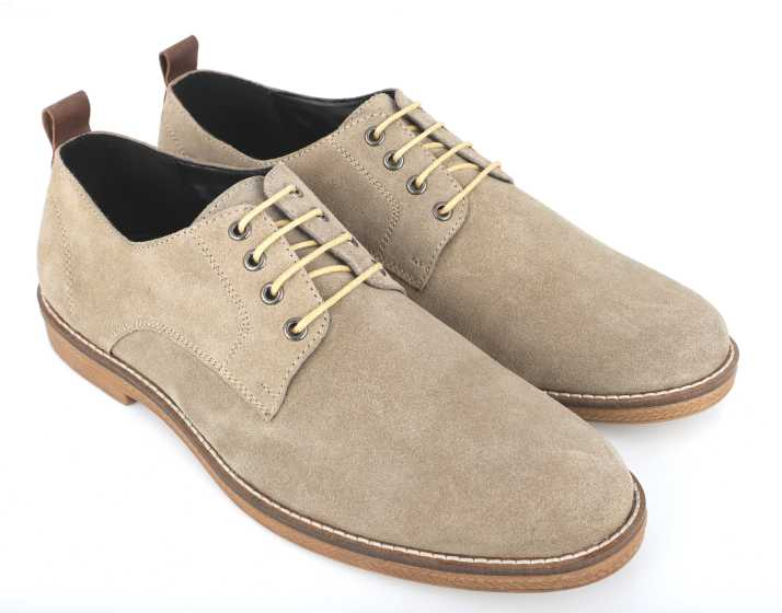 8b29e40a7f87aa Freacksters Classic Modern Lace Up Suede Leather Oxford Dress Boots Casuals  For Men (Beige)