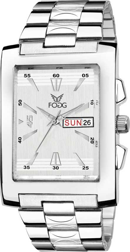 e8a1b0dfee Fogg 2078-SL Silver Square Day and Date Watch - For Men