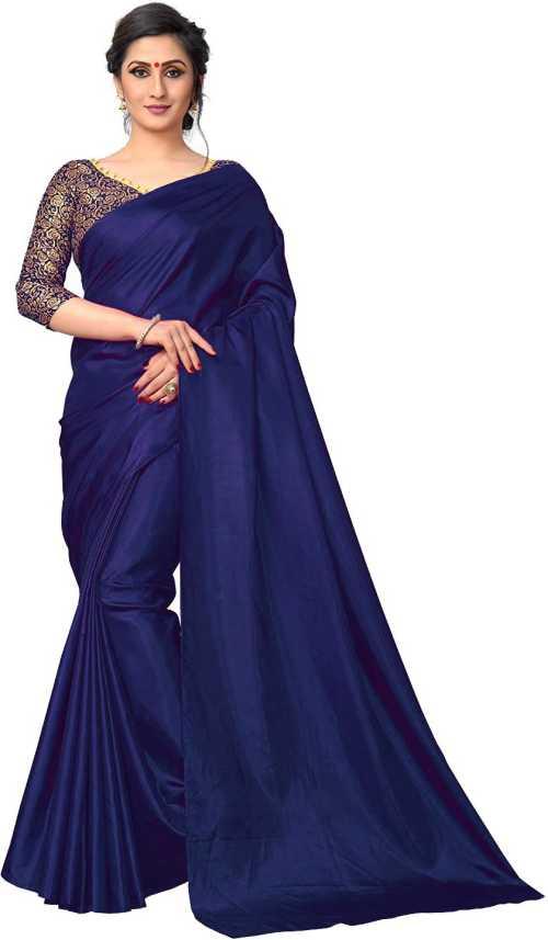 2ec9a88741 Buy NplashFashion Solid Bollywood Silk Dark Blue Sarees Online ...