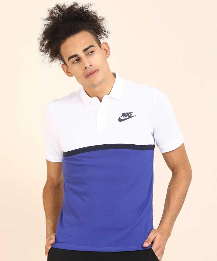 50cd43c2 Nike Self Design Men Polo Neck White, Blue T-Shirt - Buy Nike Self Design Men  Polo Neck White, Blue T-Shirt Online at Best Prices in India | Flipkart.com