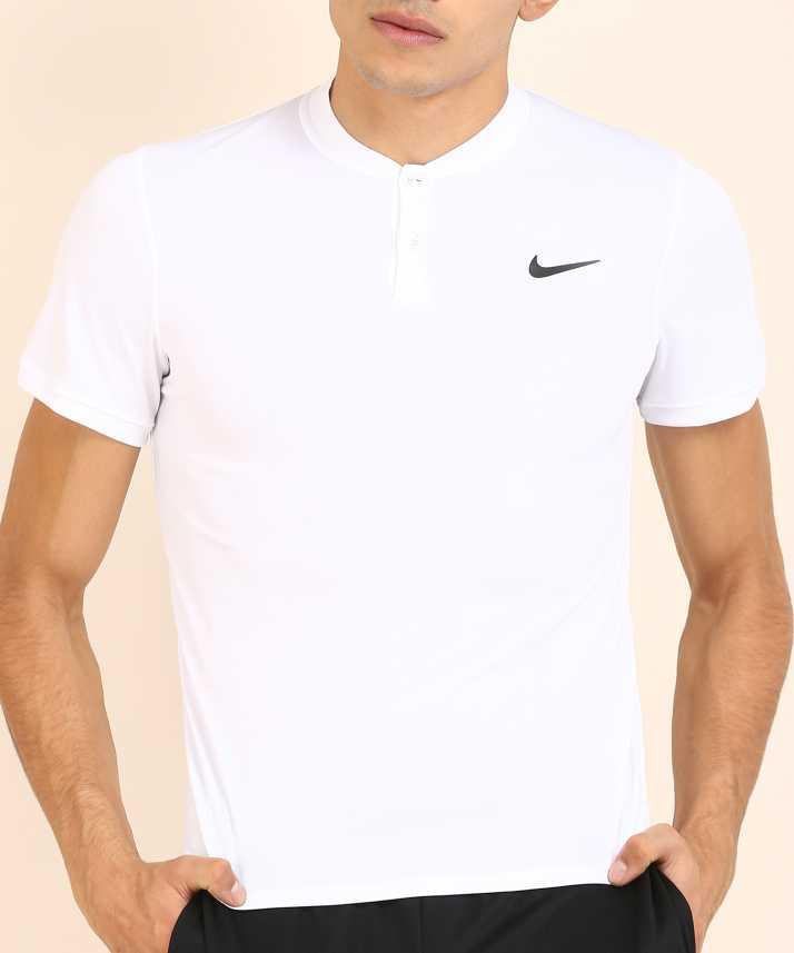 d319743f3ecd Nike Solid Men's Henley White T-Shirt - Buy Nike Solid Men's Henley White  T-Shirt Online at Best Prices in India   Flipkart.com