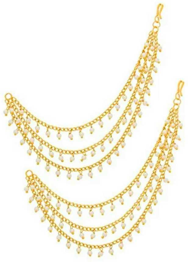 Stylegallery White Long Pearl Bahubali Alloy Gold Hair Chain Earrings Kanchain Cuff Earring