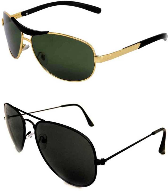 6454639a0b8c Buy Barbarik Wrap-around, Aviator Sunglasses Black, Green For Men ...