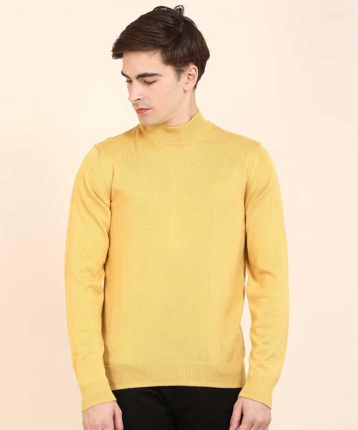 b44c1b4655593b Raymond Woven High Neck Casual Men's Yellow Sweater - Buy Raymond Woven  High Neck Casual Men's Yellow Sweater Online at Best Prices in India |  Flipkart.com