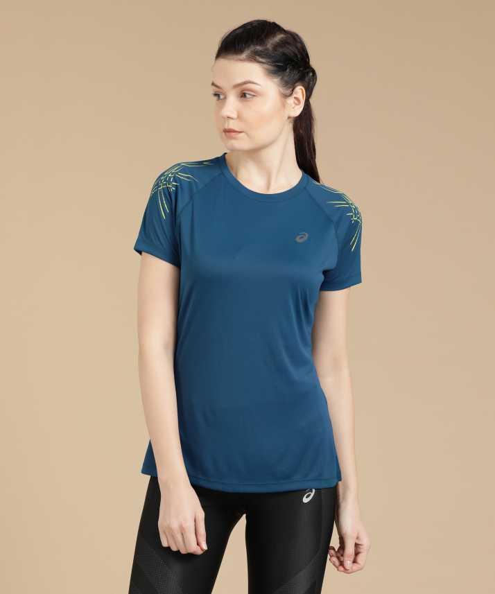 asics Solid Women Round Neck Blue T-Shirt