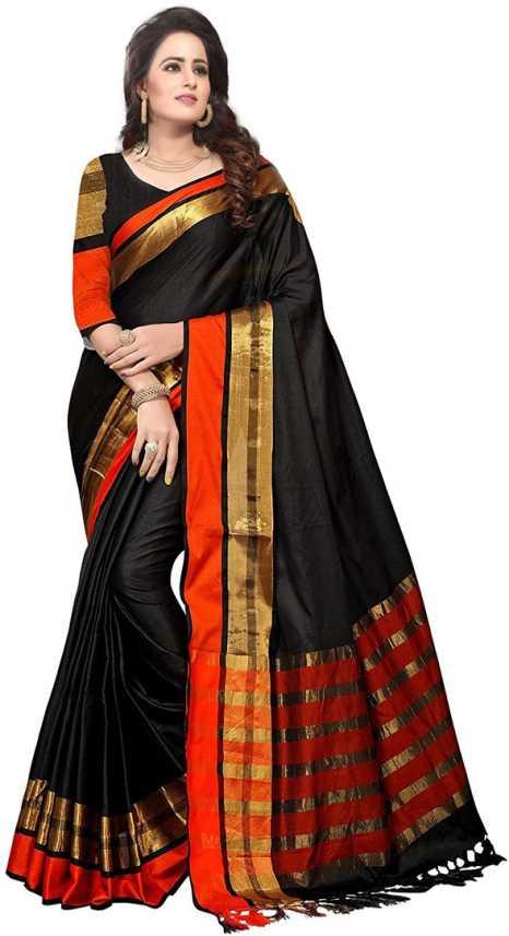 816600b83 Buy V J Fashion Solid Fashion Art Silk Black Sarees Online @ Best ...