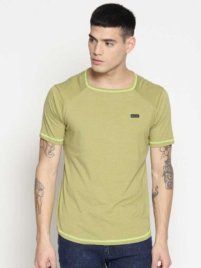 d9c3921b31f912 IMPACKT Solid Men Square Neck Green T-Shirt - Buy IMPACKT Solid Men Square  Neck Green T-Shirt Online at Best Prices in India