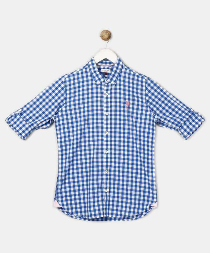 e2a9df44671 US Polo Kids Boys Checkered Casual Blue Shirt - Buy US Polo Kids ...