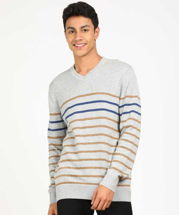 67f6ec288eb GAP Striped V-neck Casual Men Grey Sweater - Buy GAP Striped V-neck ...