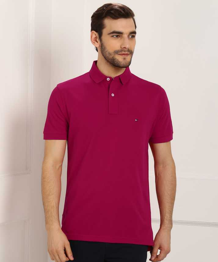 4ce69f8d4 Tommy Hilfiger Solid Men s Polo Neck Pink T-Shirt - Buy Tommy Hilfiger  Solid Men s Polo Neck Pink T-Shirt Online at Best Prices in India