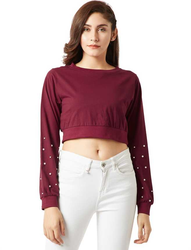 c6c5744b62793 Miss Chase Casual Full Sleeve Solid Women s Maroon Top - Buy Miss Chase  Casual Full Sleeve Solid Women s Maroon Top Online at Best Prices in India  ...
