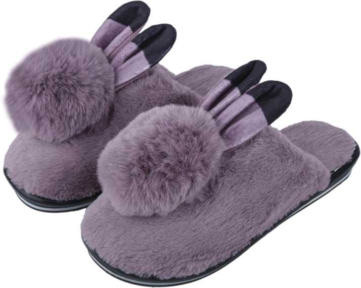 f0621a3a9a5c0 IRSOE Women and Girls Velvet Anti-Slip Soft Bottom Winter Rabbit Slippers  Wool Slip-On Indoor & Outdoor Fur Slippers - Purple Slippers