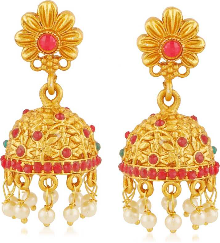 Meenaz Temple Jewellery Sets Traditional Matte Gold Kundan Pearl Stylish  Wedding Ruby Green Peacock Jhumka/Jhumki Earrings for women/girls Ruby,