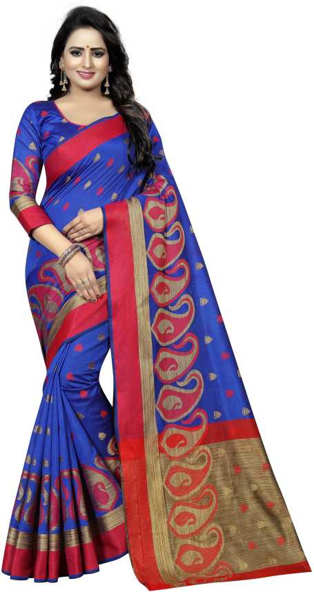 d2396dd955b85c Buy SATYAM WEAVES Woven Banarasi Cotton Silk Blue Sarees Online   Best  Price In India